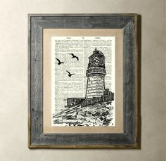 Lighthouse  Printed on a Vintage Dictionary Page di TheLittleRice, $6.50