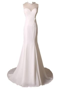 Ivydressing Gorgeous Scoop Neck Mermaid Wedding Reception Prom Evening Dresses-16-White. Built-in bra, fully lined. Sweep train; Dry clean only. After you order the dress, we will email to your Amazon account for detailed measurements. Please prepare and reply it ASAP. How to measure? Please check the left image. If there is any requirement like COLORS and URGENT SERVICE, please don't hesitate to contact us. It's our pleasure to tailor a beautiful and comfortable dress for you. Note: All...