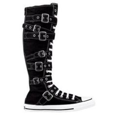 Chuck Taylor Knee High Converse   CONVERSE KNEE HIGH CHUCK TAYLOR-BLACK/BUCKLES~ALL SIZES - New and Used ...