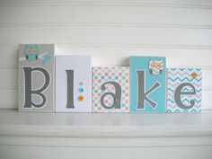 Baby Name Blocks .Modern Aqua . Grey . Orange . by RessieLillian.Etsy.com