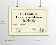 Affiche Diplôme Meilleure Maman First Mothers Day Gifts, Personalised Gifts, Best Mom, Happy Name Day