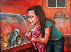 One slice of cat, please! of schnauzer!it could just as easily be the other way around, and we wouldn't see a difference. Dana Ellyn art i think Vegan Facts, Vegan Memes, Vegan Quotes, Why Vegan, Vegan Animals, A Level Art, Vegan Lifestyle, Animal Rights, Going Vegan
