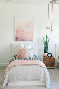 3 Simple Updates to Give Your Room A New Look Kailee Wright Girls Bedroom Ideas Give Kailee Room Simple Updates Wright Simple Girls Bedroom, Twin Girl Bedrooms, Bed For Girls Room, Teenage Girl Bedroom Designs, Cute Bedroom Ideas, Little Girl Rooms, Awesome Bedrooms, Twin Bed For Girls, Light Pink Girls Bedroom