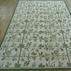 6'x9' Handmade Foliage Wool Needlepoint Area Rug~New~Free Shipping Worldwide