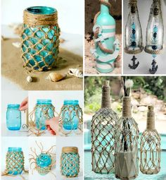 23 Clever DIY Christmas Decoration Ideas By Crafty Panda Glass Bottle Crafts, Bottle Art, Crafts With Bottles, Beach Crafts, Diy Home Crafts, Deco Theme Marin, Bottles And Jars, Reuse Bottles, Shell Crafts