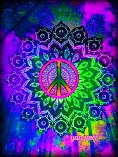 American Hippie Psychedelic Art ~ Peace Sign Mandala♥ For classic jewelry: /shop/BlueDivaDesigns Hippie Peace, Happy Hippie, Hippie Love, Hippie Art, Hippie Chick, Yoga Studio Design, Peace On Earth, World Peace, Peace Love Happiness