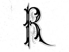Letter R by Steve Wolf Typography Letters, Typography Design, Lettering, Picture Letters, Love Letters, Steve Wolf, Drop Cap, Beautiful Lines, Monogram Styles