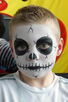 Halloween face painting for kids - Skeleton face paint idea kids makeup boys 11 Amazing Halloween Face Painting Ideas for Kids Kids Skeleton Face Paint, Face Painting Halloween Kids, Zombie Face Paint, Face Painting For Boys, Face Painting Designs, Skeleton Face Makeup, Skeleton Costume Kids, Vampire Face Paint, Body Painting