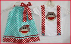 Aqua and Red  Appliqued Sock Monkey  Brother Sister Twin Set Dress and Suspender Tee Set