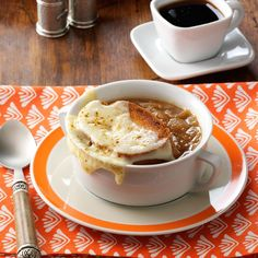 French Onion Soup Recipe -Seven-year-old daughter Heather and I enjoy spending time together cooking, but our days are busy, so we appreciate quick and tasty recipes like this one. Hot and delicious, this soup hits the spot for lunch or dinner. -Sandra Chambers, Carthage, Mississippi