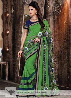 Graceful Green Jute #Saree #Navaratri