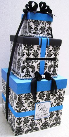 black and turquoise wedding card holders - Google Search