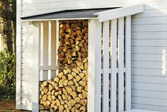 outdoor firewood rack - Check out these super easy DIY outdoor firewood racks. You can store your wood clean and dry and it allows you to buy wood in bulk, saving you money. Outdoor Firewood Rack, Firewood Shed, Firewood Storage, Outdoor Storage, Cheap Firewood, Patio Storage, Wood Store, Building A Shed, Garden Structures