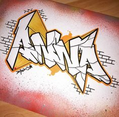 3D Graffiti : Drawing Sketches Wildstyle Graffiti 3D Alphabet Letter With Graffiti Pink Yellow Color Spray Style On Paper Graffiti 3D Letters Spray Style