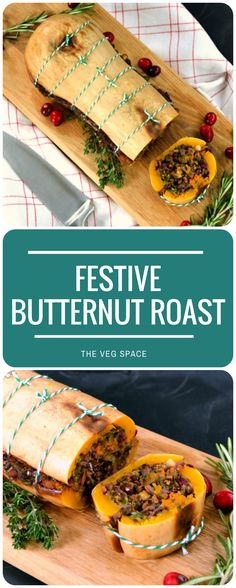 Recipe: Festive Butternut Roast (& what makes the ultimate vegetarian & vegan Christmas dinner?) - The Veg Space Recipe: Festive Butternut Roast (& what makes the ultimate vegetarian & vegan Christmas dinner?) - The Veg Space Veggie Christmas, Vegan Christmas Dinner, Vegan Thanksgiving, Xmas Food, Christmas Parties, Christmas Treats, Holiday Dinner, Vegetables For Christmas Dinner, Christmas Menu Ideas