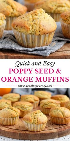 These Orange and Poppy Seed Muffins are a great make-ahead breakfast, morning or afternoon tea treat or sweet snack to enjoy all day long. The super quick and easy orange muffins with poppy seeds also make a great lunchbox dessert for kids! Ready in less than 40 minutes, these super moist poppy seed muffins with orange juice, orange zest and greek yogurt are a truly delicious sweet treat both adults and kids will love! Healthy Sweet Treats, Savory Snacks, Easy Snacks, Savory Muffins, Mini Muffins, Baking Recipes, Cupcake Recipes, Snack Recipes, Tea Recipes
