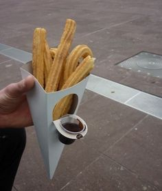 Churros/papitas con chocolate churros with chocolate take away-carry on