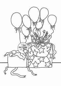 Birthday Gifts And Balloons Coloring Page For Kids Holiday Pages Printables Free