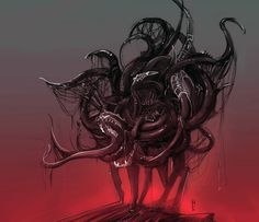 """Shub-Niggurath, often associated with the phrase """"The Black Goat of the Woods with a Thousand Young"""", is a deity in the Cthulhu Mythos of H. Fantasy Images, Dark Fantasy Art, Arte Horror, Horror Art, Celtic Dragon Tattoos, Lovecraft Cthulhu, Lovecraftian Horror, Bizarre Art, Horror Movie Characters"""