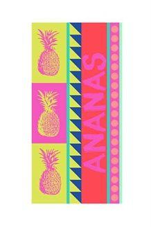 Telo Mare Fresh Ananas<br>75 x 150 cm - Fucsia e Verde