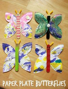 A paper plate butterfly craft for kids -- a great summer activity and especially beautiful with marbled paper plates!