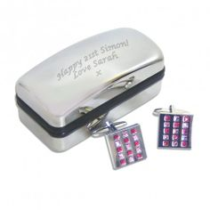 Personalised Rose Checked Cufflinks  from Personalised Gifts Shop - ONLY £39.99