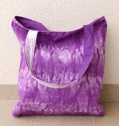 Purple Tie Dye Tote Oversized Tote Shibori Canvas by AikoThreads, $32.00