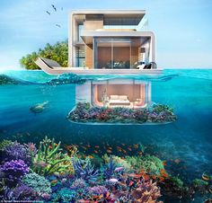 Floating Seahorse Villa in Dubai is an iconic underwater house and a luxury lifestyle product which was officially unveiled at Dubai International Boat Show Vacation Places, Dream Vacations, Best Honeymoon Destinations, Underwater Bedroom, Ocean Underwater, Beautiful Homes, Beautiful Places, House Beautiful, Dream Mansion