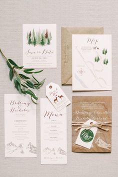 invitations mariage montagnes et foret