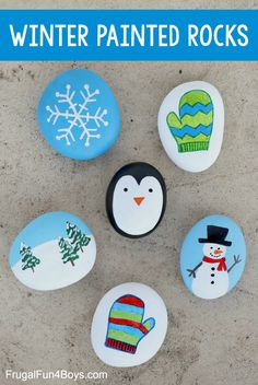 Winter Rock Painting Ideas - Frugal Fun For Boys and Girls Rock Painting Patterns, Rock Painting Ideas Easy, Rock Painting Designs, Painting For Kids, Winter Painting, Painted Rock Animals, Painted Rocks Craft, Hand Painted Rocks, Stone Crafts