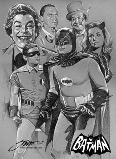 Charcoal art of the 60's-era Batman gang.