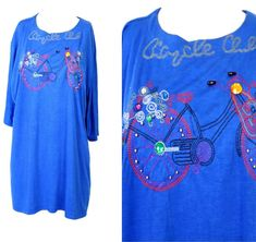 Blue bike T Shirt Blouse Bedazzled beaded NewWave rhinestone embroidered Beaded Flapper Dress, Dance Shirts, Satin Jackets, Blue Blouse, Blue Tops, Shirt Blouses, Bike, T Shirts For Women, Mens Tops