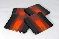 Fused Glass Coasters Red and Orange Crackle by IdleCreativity