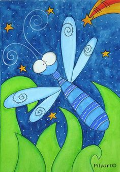 Dragonfly Art Prints | Pilyart - Dragonfly Art Canvas - Murals For Kids INspiration for art project