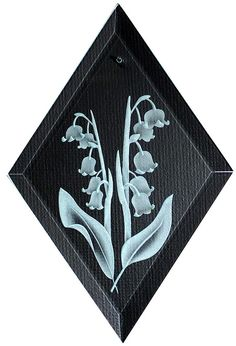Carved Glass Lily of the Valley Hanging Suncatcher