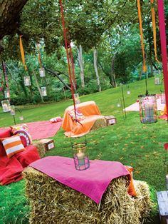 simple country wedding | Here, you can incporporate your wedding colors by using solid throws ...