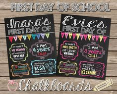 First Day of School Chalkboards! So cute for 1st day of school pictures for any grade :) Customized printable chalkboard files