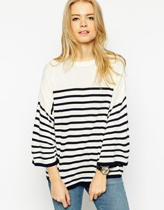 ASOS Stripe Jumper With Cape Sleeves