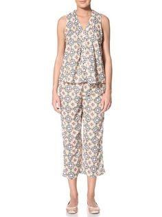 aaa8b8ee360 66% OFF 40 Winks Women s Moroccan Tile Two-Piece Capri Pajamas  (Navy Coral Green)