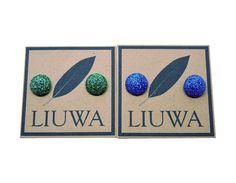 Canuck Glitter Dot Post Earrings Polymer Clay Studs by Liuwa