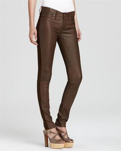 574b5e41751 MARC BY MARC JACOBS MIRAH LEATHER SEAMED SKINNY BROWN PANTS JEANS 29 $798  #MarcbyMarcJacobs #