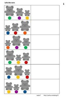 Un loto pour prendre en compte deux critères Visual Perception Activities, Counting Bears, September Preschool, Art Mat, Montessori Math, Petite Section, My Little Baby, Numeracy, Working With Children
