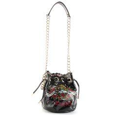 Ed Hardy handbags Lynn Drawstring Bag - Black  a60067e3d3c7b