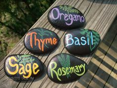 Set includes 5 herb garden stone markers: Oregano, Basil, Thyme, Sage, and Rosemary. I WOULD BE HAPPY TO SUBSTITUTE OTHER HERB NAMES AT YOUR