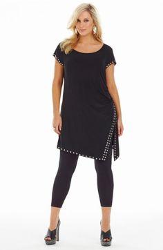Stud Trim Tunic Dress