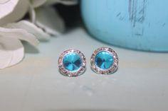 Seafoam Crystal Post Earrings 13mm Rivoli by MyLittleLovesShoppe