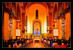 Philippines - Manila Cathedral by © Salim Photography/ www.salimphoto.com, via Flickr  The Minor Basilica of the Immaculate Conception-Beautiful lighting!