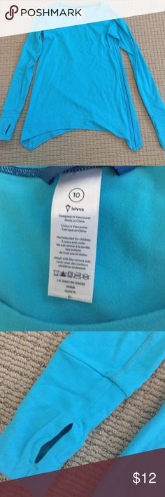Turquoise Ivivva long sleeve top size 10 Ivivva top long sleeve girls size 10 with uneven hem and really soft fabric. Great condition Ivivva Shirts & Tops Tees - Long Sleeve