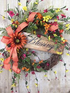 Summer Wreath, Front Door Wreath, Spring Wreath, Sunflower Wreath, Blessings Sign Wreath, Large Floral Grapevine Wreath, Outdoor Decor