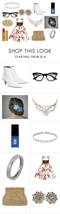 """The 1950s"" by hcps-cleghorse ❤ liked on Polyvore featuring Alibi, ZeroUV, Salt Water Sandals, JINsoon, Max Factor, Weiss and Van Cleef & Arpels"